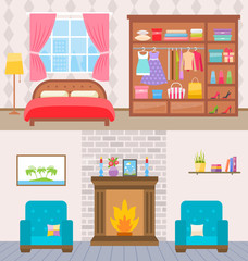 Bedroom with furniture and window. Wardrobe with clothes and mirror. Flat style  illustration.