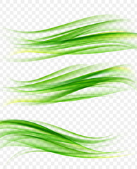 Set of abstract smooth green waves on transparent background