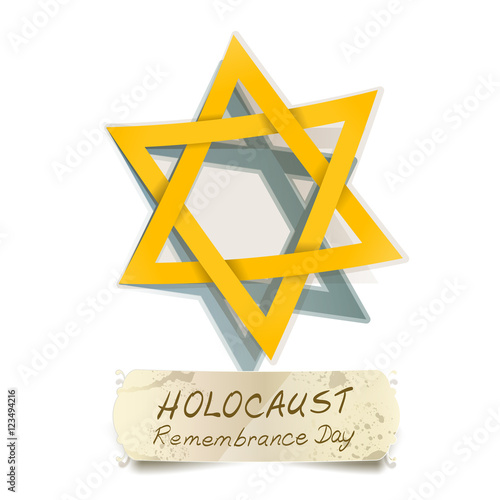 Yellow Star Of David And Holocaust Remembrance Day Vector Stock