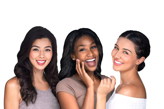 Group beautiful women people multiple ethnicity perfect smile white teeth lips skin white background