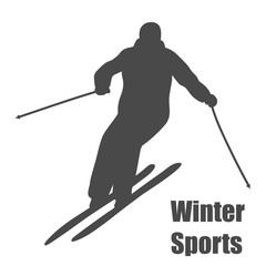 Skier silhouette isolated on white background. Vector illustration.