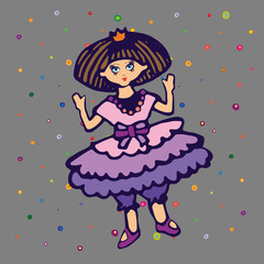 Children style drawing of toy princess. Cute doll in ballet dress with princess crown. Vector Illustration