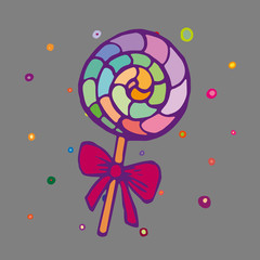 Children style drawing of lollipop candy. Colorful caramel lollipop on stick with bow. Vector Illustration