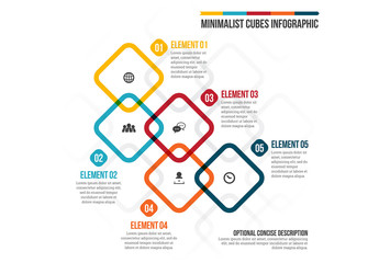 Five Overlapping Rounded Squares Infographic