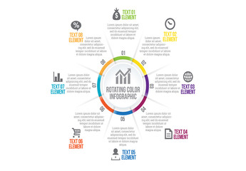 Multicolored Eight Section Circle Infographic