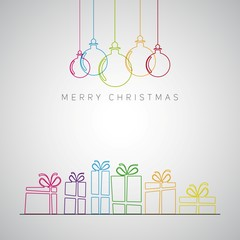 Merry Christmas minimalistic illustration card with decorations