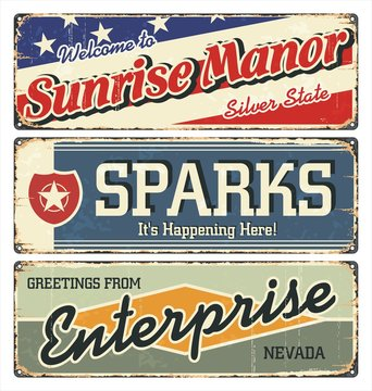 Vintage tin sign collection with USA cities. Sunrise. Sparks. Enterprise. Retro souvenirs or postcard templates on rust background.