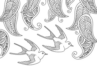 Coloring page with two birds and willow leafs