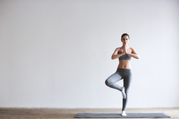 Printed roller blinds Yoga school Woman yoga.