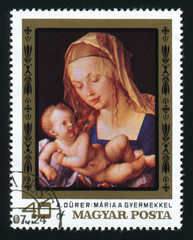 HUNGARY - CIRCA 1978: The postage stamp printed in HUNGARY shows a picture of artist Albrecht Durer. Virgin and Child. Maria a gyermekkel. Circa 1978