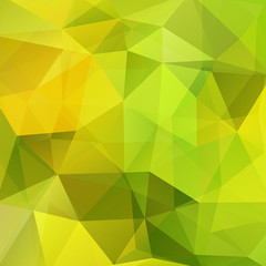 Background made of green, yellow triangles. Square composition with geometric shapes. Eps 10