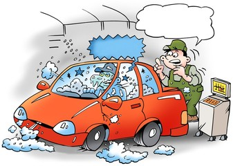 Cartoon illustration of a family man who washes his little car in the family's bathing pool