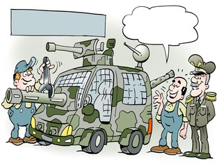 Cartoon illustration of a general with his new safty car