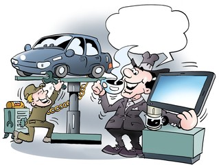 Cartoon illustration of a car owner there is very happy for a cup of morning coffee in the workshop
