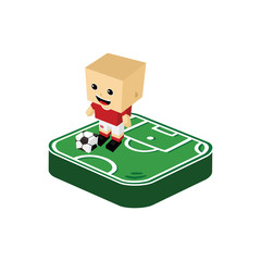 soccer player isometric cartoon
