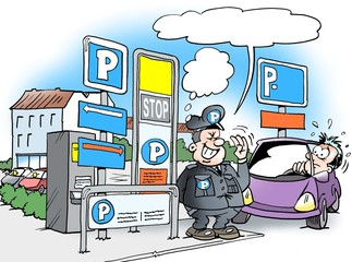 Cartoon illustration of a parking warden standing in front of a lot of P signs with many rules to be observed