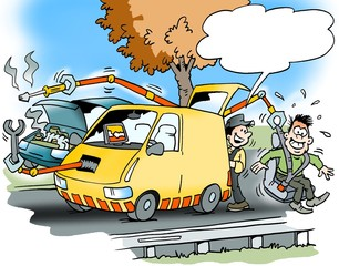 Cartoon illustration of a roadside assistance with a car that has many modern facilities