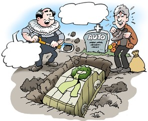 Cartoon illustration of a car owner who buries his beloved old car