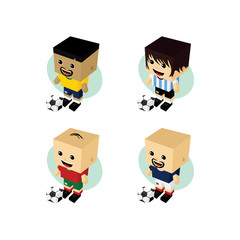 Poster Superheroes soccer player isometric cartoon set