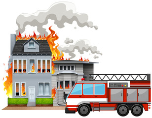 Fire scene with fire truck