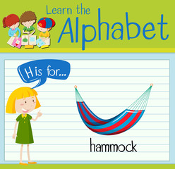 Flashcard letter H is for hammock