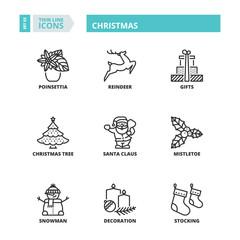 Thin line icons. Christmas