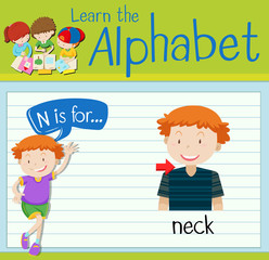 Flashcard letter N is for neck