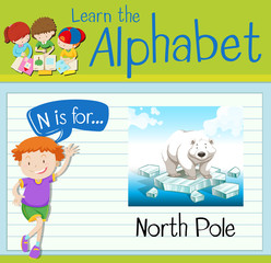 Flashcard letter N is for north pole