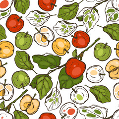 Seamless pattern with apples for the kitchen. Red, yellow and green apples on a branch. Fruit. Food. Hand drawn.