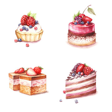 Set of different varieties of cakes. Hand draw watercolor illustration.