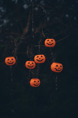 Halloween pumpkins hanging on tree decoration.