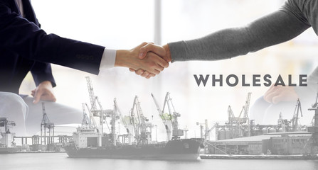 Logistics concept. Double exposure. Two men shaking hands and port in the sea