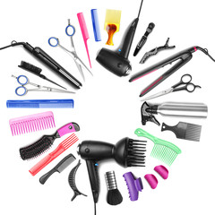 Different professional hairdresser equipment with space for text on white background