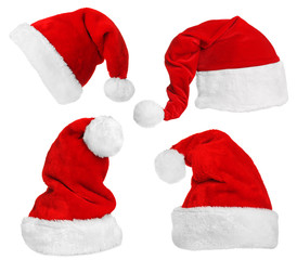 Santa Claus hats isolated on white
