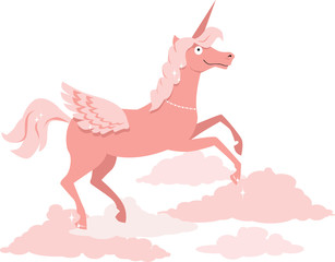 Cartoon pink unicorn running on the clouds, EPS 8 vector illustration, no transparencies