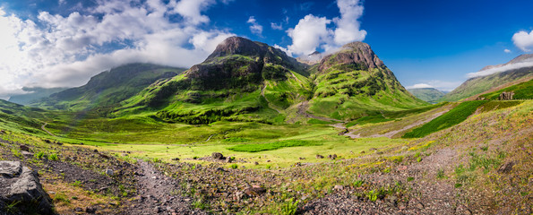 Breathtaking panorama of the mountains in Glencoe at sunrise, Scotland