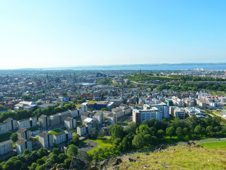 Hill view of the city of Edinburgh in Scotland
