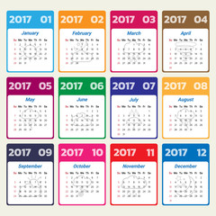 2017 Modern calendar template .Vector/illustration.