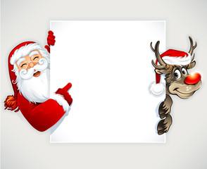 Cartoon Santa Claus and reindeer. Vector vintage Christmas greeting card design.