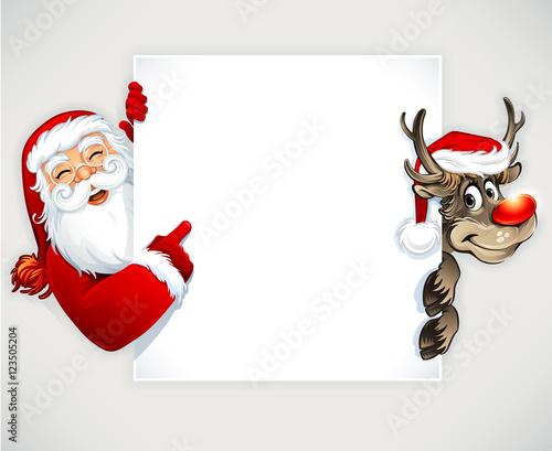 Quot Cartoon Santa Claus And Reindeer Vector Vintage