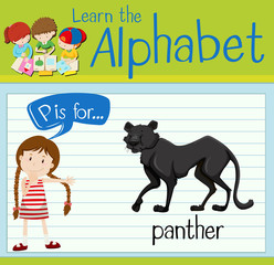 Flashcard letter P is for panther