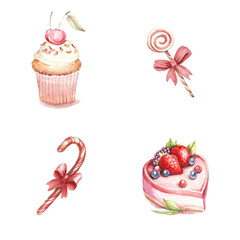Set of different varieties of cakes and candies. Watercolor illustration.