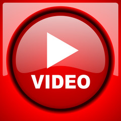 video red icon plastic glossy button