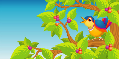 Lone bird singing on the branch of a tree on blue background - Vector image