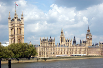 The Palace of Westminster, known also as the Houses of Parliament, located on the Thames River in London