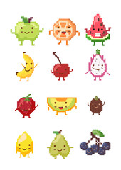 Set of pixel fruit characters ; vector illustration