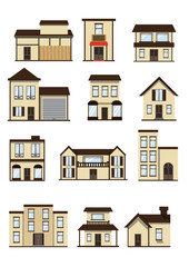 Vector city building icons set; vector illustration
