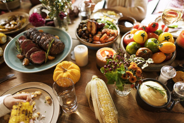 Roasted Beef Food Thanksgiving Table Setting Concept