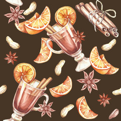 Seamless pattern with mulled wine.Watercolor illustration