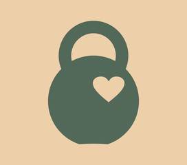 Kettlebell icon with heart. Flat style simple symbol. Element for sporty club emblem